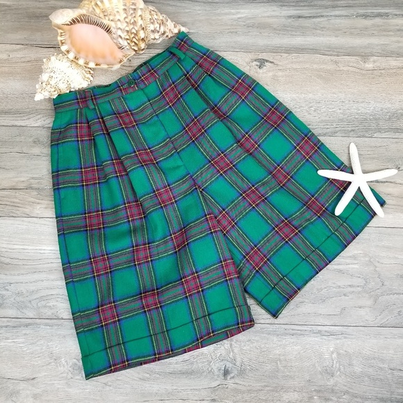 Talbots Pants - Vintage Talbots pleated plaid wool shorts Sz 6